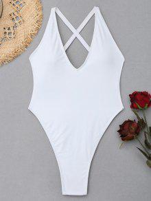 عبر الظهر عالية قطع ملابس السباحة - أبيض Xl