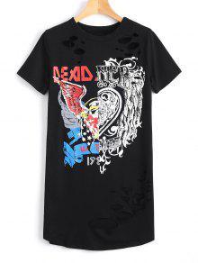 Camiseta Longa Casual Com Estampa Gráfica  - Preto S