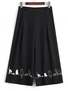 Capri Cartoon Pantalon à Larges Jambes - Noir M