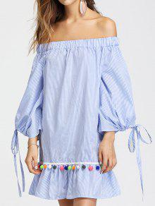 Vestido Ombro A Ombro Listrado Barra Babado Com Pompons - Azul Claro S
