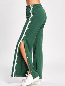 الجانب شق زر حتى السراويل الساق واسعة - أخضر Xl