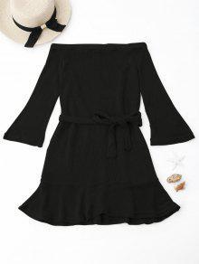 Hecho Punto Del Vestido Del Encubrimiento Del Hombro - Negro M