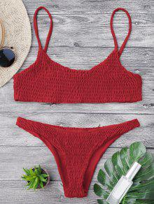 Top De Bikini Y Parte Inferior De Smocked - Rojo S