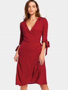 Plunging Neck Plain Wrap Vestido - Rojo L