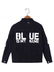 El Azul Es Mi Chaqueta Bordada Del Dril De Algodón - Negro M