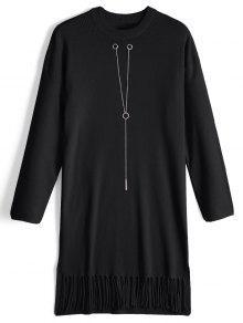 Cadena De Manga Larga Con Flecos Vestido De Jersey - Negro