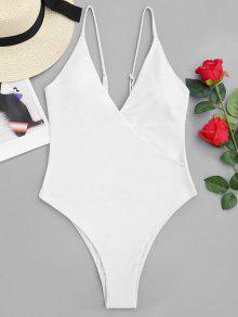 High Cut Crossover One Piece Swimwear - Blanc M