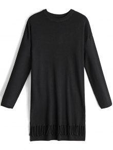 Arco De Manga Larga Con Flecos Vestido De Jersey - Negro