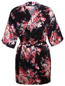 الأزهار التفاف الحرير كيمونو النوم - أسود M