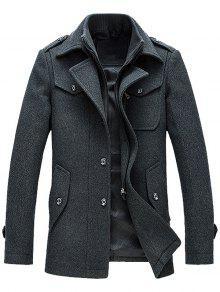 Epaulet Design Faux Twinset Jacket De Mezcla De Lana - Gris M