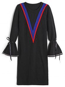 فستان سويت ربطة فراشية الرقبة - أسود