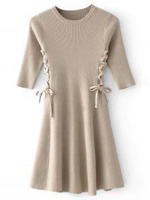 Lace-up Vestido De Jersey Con Nervaduras - Camello