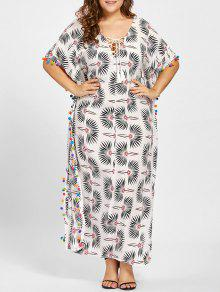 Pompom De Talla Grande Con Estampado De Flores Poncho Dress - Blanco 3xl