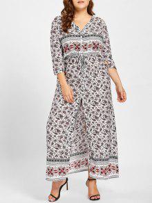فستان الحجم الكبير انقسام الجبهة طباعة هندسية - أبيض 2xl