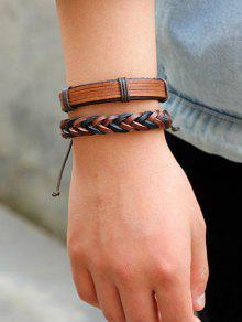 Vintage Faux Leather Layered Bracelets