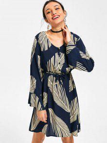 فستان طويلة الأكمام طباعة الورقة - ازرق غامق Xl