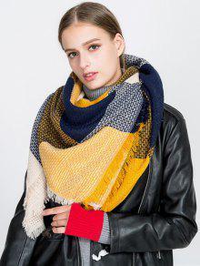 مهدب الترتان منقوشة بطانية وشاح - الأصفر