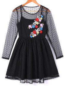 Vea A Través Del Vestido Bordado Floral De La Capa - Negro L