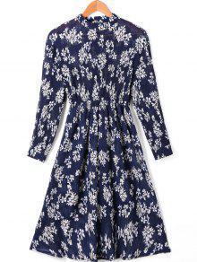 Robe Plissée à Imprimé Floral à Haute Taille Avec Manches - L