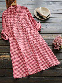 فستان شيرت بجيب منقوش زر - أحمر