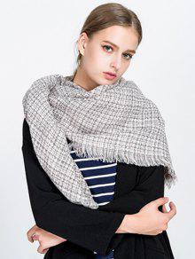 Kleiner Plaid Fringed Decke Schal - Beige