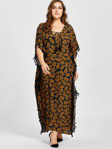 2019 Plus Size Lace Up Tassel Leaf Print Poncho Dress In Dark Camel
