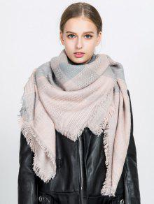 Fringed Plaid Knit Blanket Scarf
