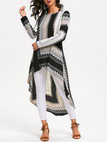 القبلية طباعة عالية منخفضة فستان طويل الأكمام - L