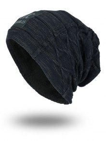 Espesar El Sombrero Del Knit De La Doble-Cubierta Con La Etiqueta De Las Letras - Azul Piedra