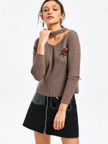 Zippered Manga Rosa Brocado Choker Suéter - Caqui Oscuro