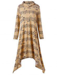 سلحفاة الرقبة الموسيقى ملاحظة طباعة منديل اللباس - ترابي L