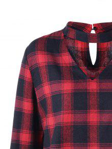 431b253d 25% OFF] 2019 Plus Size Plaid Flare Sleeve Choker Blouse In RED WITH ...