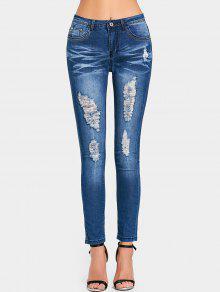 جينز ممزق عالية الخصر بجيوب - ازرق غامق L