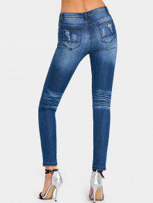 zerrissene high waist skinny jeans dunkelblau jeans 2xl. Black Bedroom Furniture Sets. Home Design Ideas