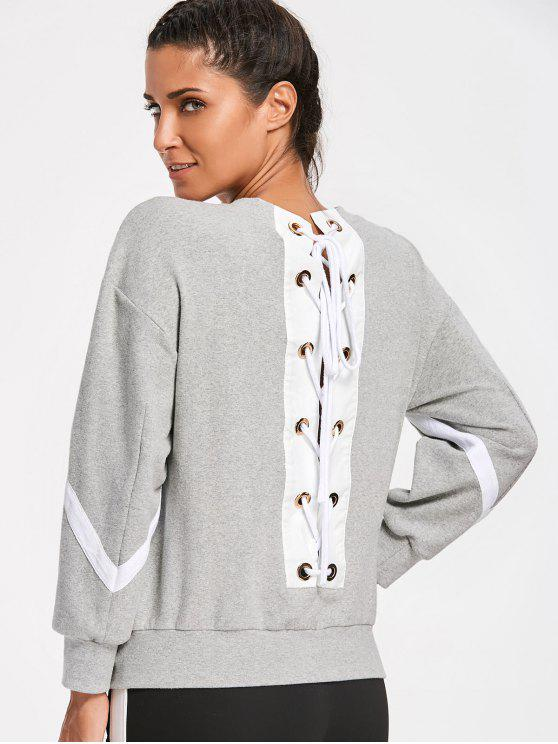 lady Zig Zag Back Lace Up Sweatshirt - GRAY M