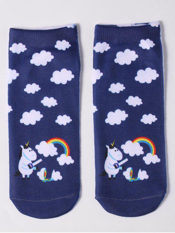 women Cartoon Unicorn Ankle Socks - DEEP BLUE