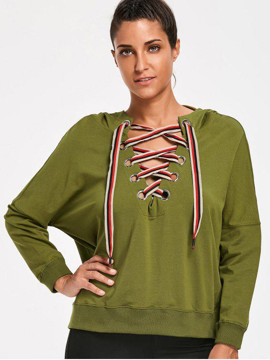 online Lace Up Pullover Hoodie - ARMY GREEN M