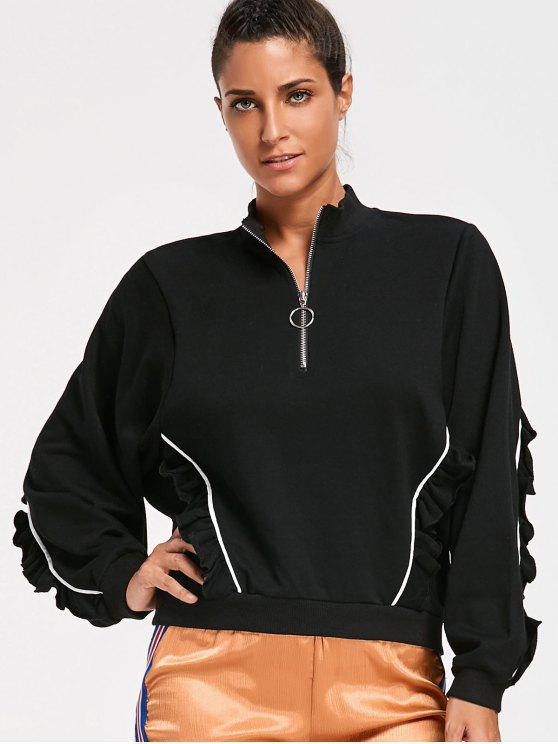 hot Ruffles Half Zipper Sweatshirt - BLACK L