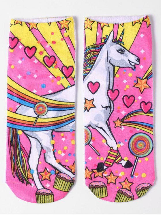 women's Magical Unicorn Ankle Socks - YELLOW