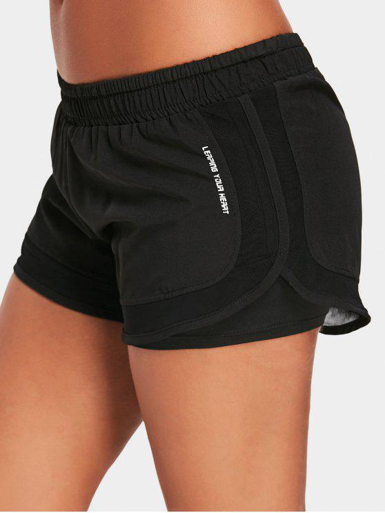 outfits Mesh Double Layered Running Shorts - BLACK L