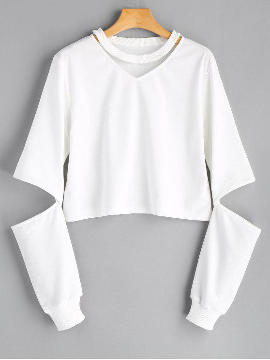 hot Plain Cut Out Sleeve Sweatshirt - WHITE L