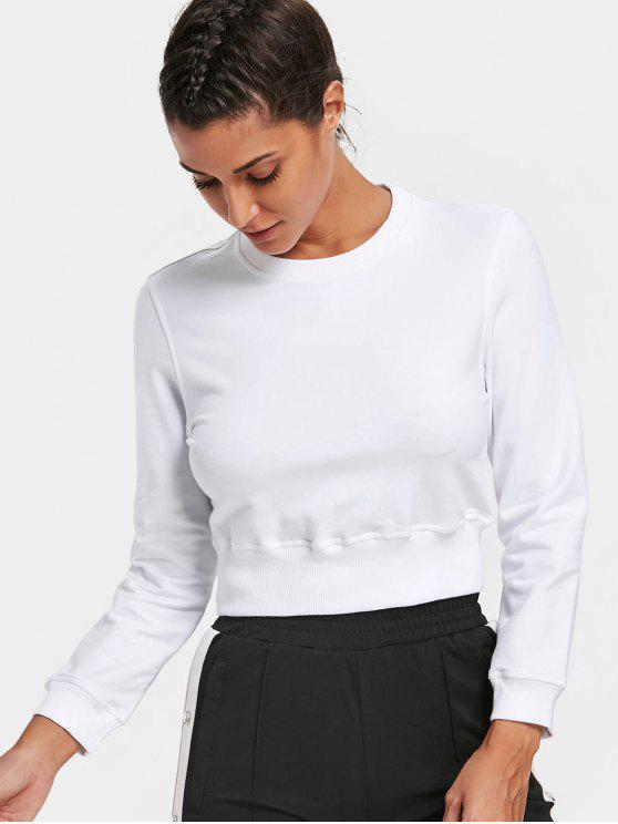 outfits Crew Neck Casual Cropped Sweatshirt - WHITE L