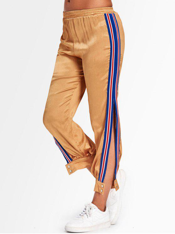 Sporty Striped Jogger Pants - Amarelo Gengibre S