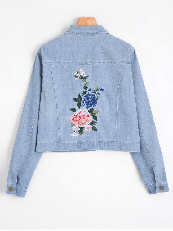 2018 jeansjacke mit blume patch und faux taschen von helles blau s zaful. Black Bedroom Furniture Sets. Home Design Ideas