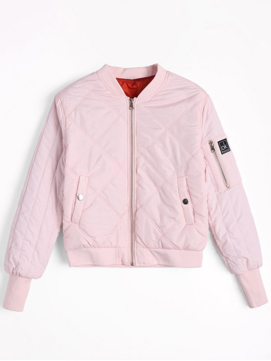 outfits Badge Patched Zippered Pilot Jacket - LIGHT PINK M