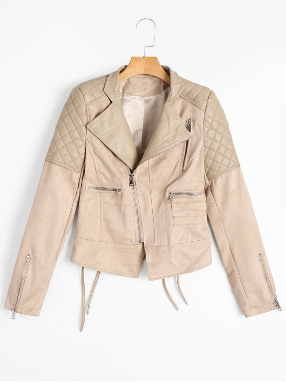 chic Faux Leather Panel Lace Up Zippered Jacket - APRICOT M