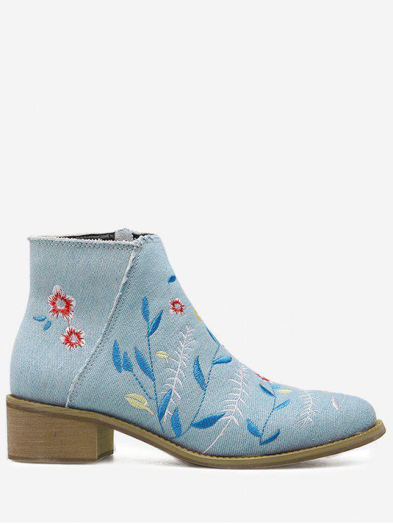 sale Embroidery Floral Denim Ankle Boots - LIGHT BLUE 37