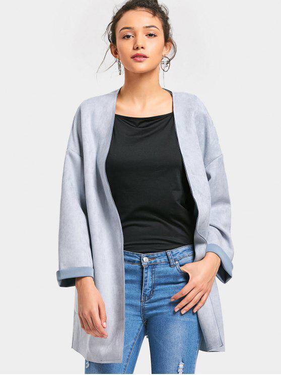 women's Faux Suede Open Front Coat - LIGHT BLUE S