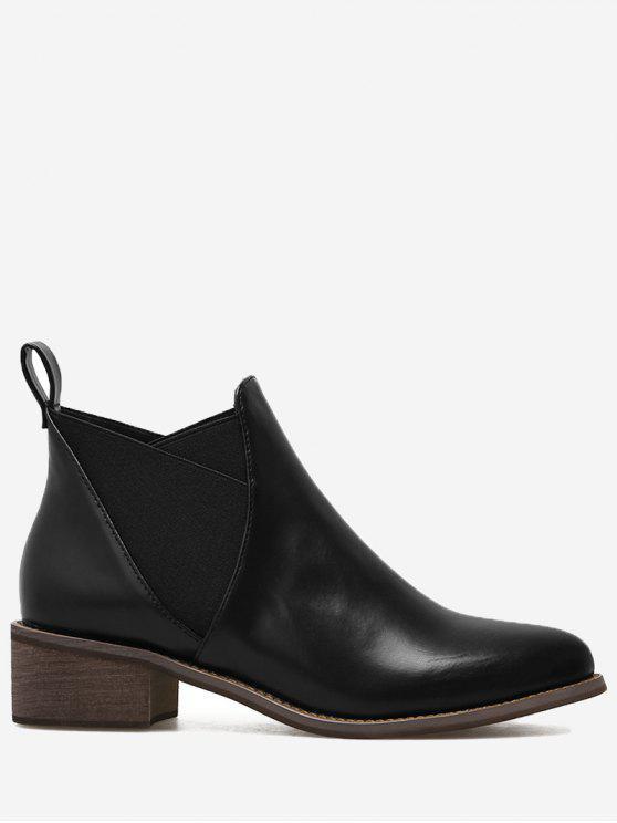 fashion PU Leather Elastic Band Ankle Boots - BLACK 39