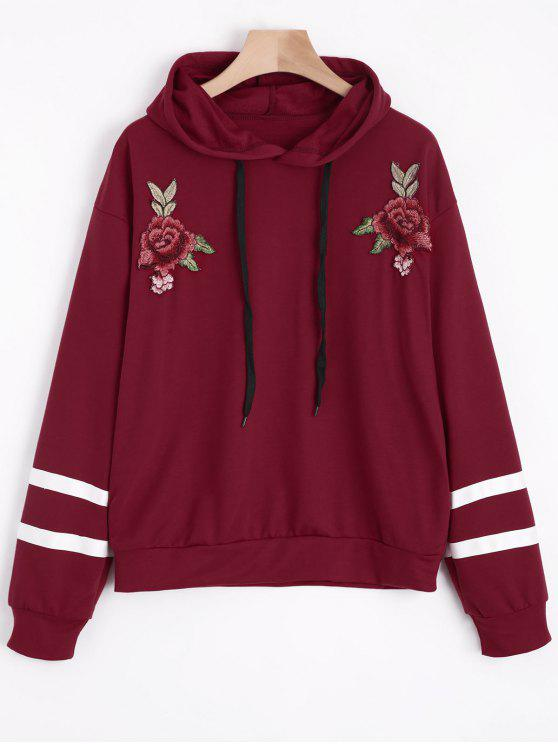 women Floral Appliques Striped Hoodie - DEEP RED M